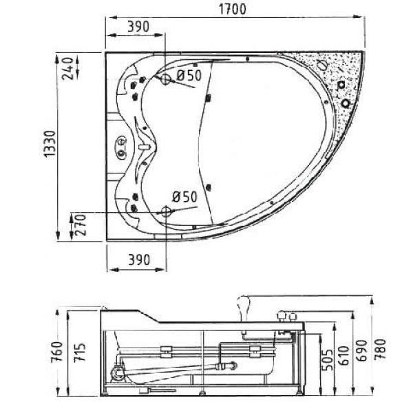 Гидромассажная ванна Gemy G9086 O (сифон автомат)