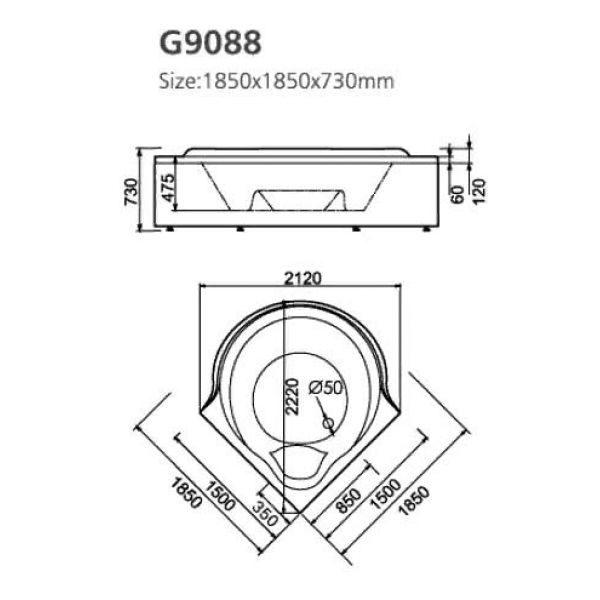 Гидромассажная ванна Gemy G9088 O (сифон автомат)
