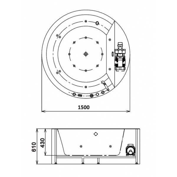 Гидромассажная ванна Gemy G9230 K (сифон автомат)