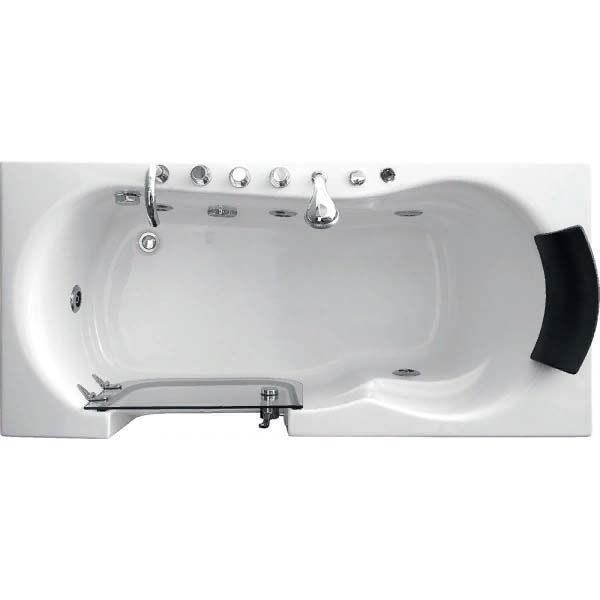 Гидромассажная ванна Gemy G9246 B со стеклянной шторкой (сифон автомат)
