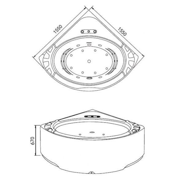 Гидромассажная ванна Gemy G9252 (сифон автомат)