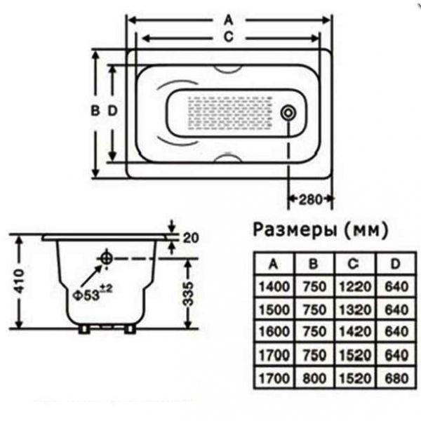 Чугунная ванна Goldman Donni 150x75 (сифон)