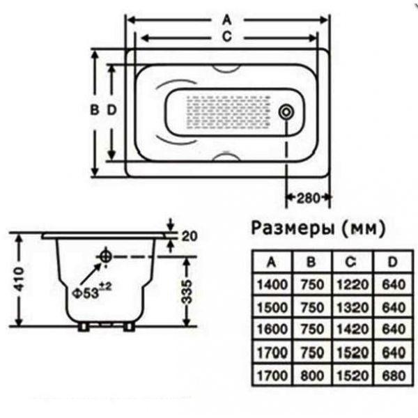 Чугунная ванна Goldman Donni 160x75 (сифон)