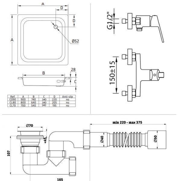 Готовое решение №11 (стальной душевой поддон BLB+cмеситель для душа Clever+cифон АниПласт)