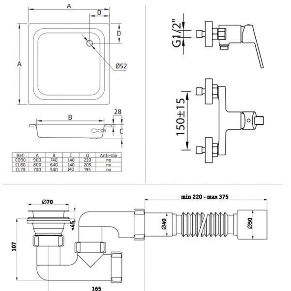 Готовое решение №12 (стальной душевой поддон BLB+cмеситель для душа Clever+cифон АниПласт)