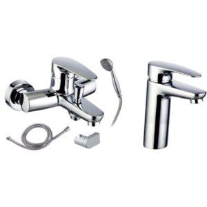Готовое решение №2 - смеситель для умывальника + смеситель для ванны и душа