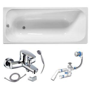 Готовое решение №69 (чугунная ванна Универсал+cмеситель для ванны и душа+сифон-полуавтомат)