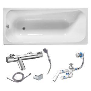 Готовое решение №71 (чугунная ванна Универсал+cмеситель для ванны и душа+сифон-полуавтомат)