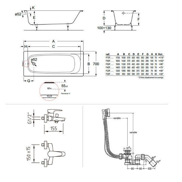Готовое решение №72 (чугунная ванна BLB+смеситель+сифон-полуавтомат)