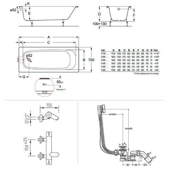 Готовое решение №74 (чугунная ванна BLB+смеситель+сифон-полуавтомат)