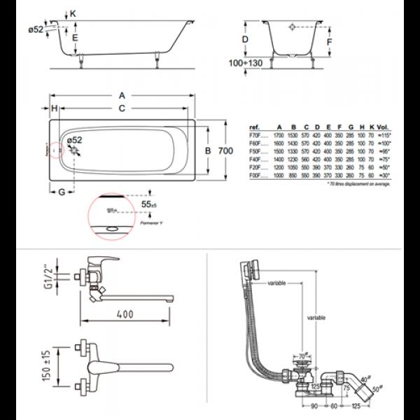 Готовое решение №76 (чугунная ванна BLB+смеситель для ванны+сифон-полуавтомат)
