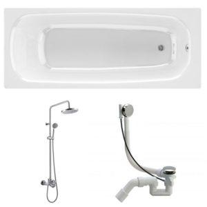Готовое решение №82 (чугунная ванна BLB+душевая система+сифон-полуавтомат)