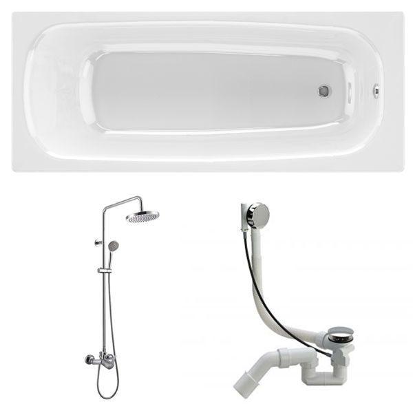 Готовое решение №83 (чугунная ванна BLB+душевая система+сифон-полуавтомат)
