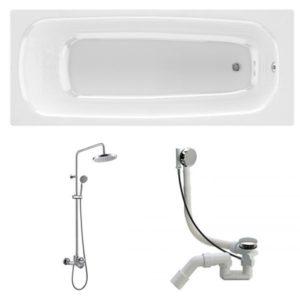 Готовое решение №84 (чугунная ванна BLB+душевая система+сифон-полуавтомат)