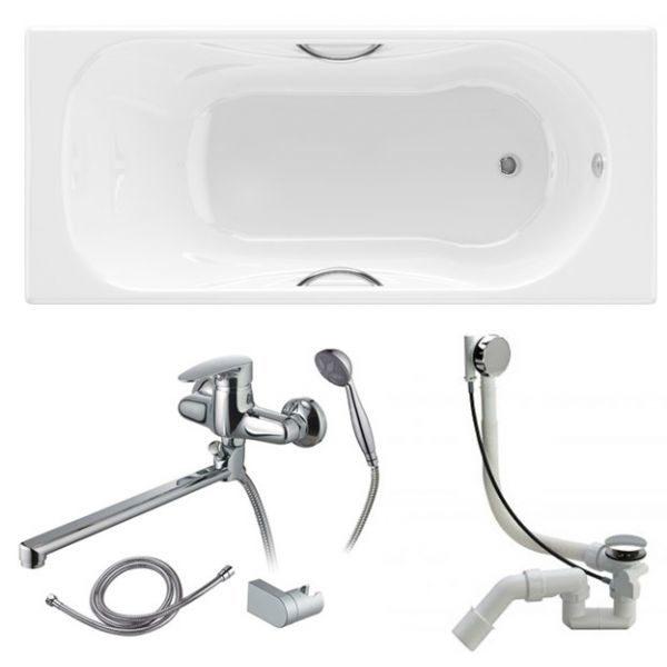 Готовое решение №89 (чугунная ванна BLB+смеситель для ванны и душа+сифон-полуавтомат)