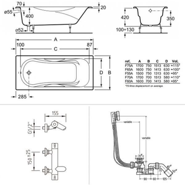 Готовое решение №87 (чугунная ванна BLB+смеситель для ванны и душа+сифон-полуавтомат)