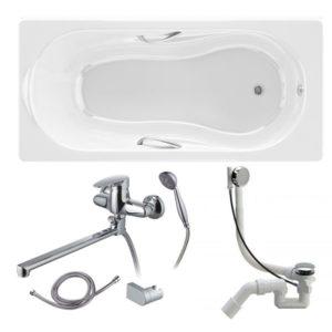 Готовое решение №92 (чугунная ванна BLB+смеситель для ванны и душа+сифон-полуавтомат)