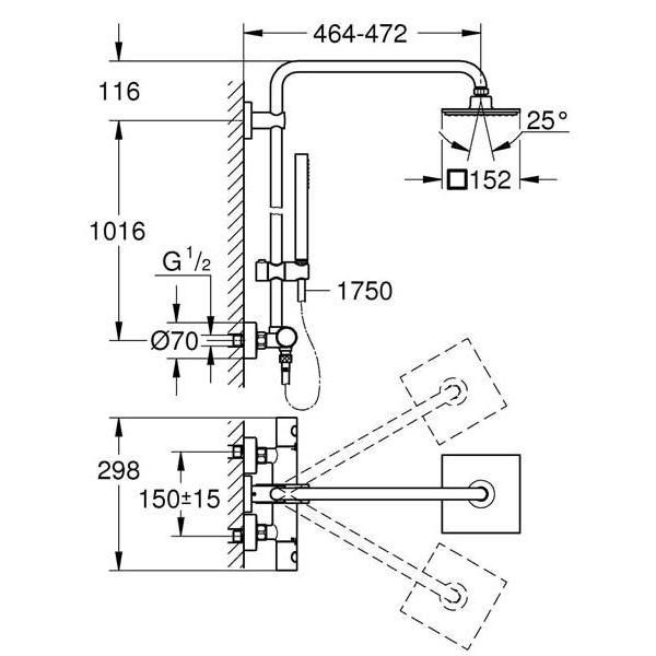 Душевая система с термостатом Grohe Euphoria System 150 27932000