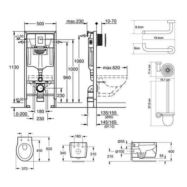 Комплект инсталляции Grohe Rapid SL 38772001 6 в 1