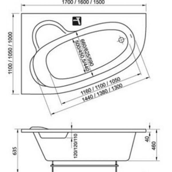Акриловая ванна Ravak Asymmetric 160x105 (сифон автомат)