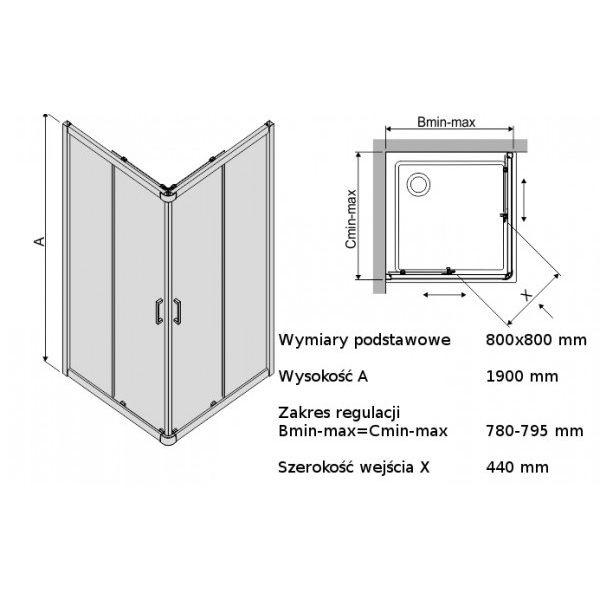 Душевой уголок Sanplast KN/TX4b-80-S W14 80x80