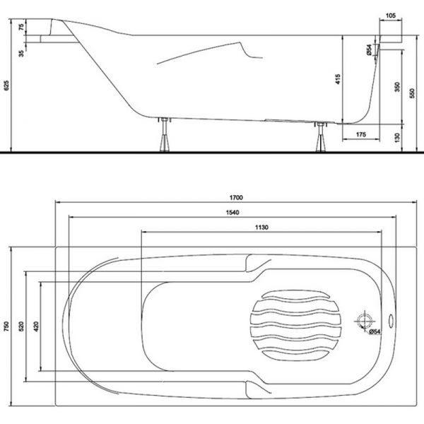 Акриловая ванна Kolo DIUNA 170x75 (сифон)