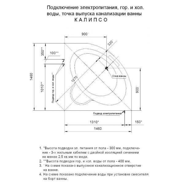 Акриловая ванна Aquatek Калипсо 145x145 (сифон)