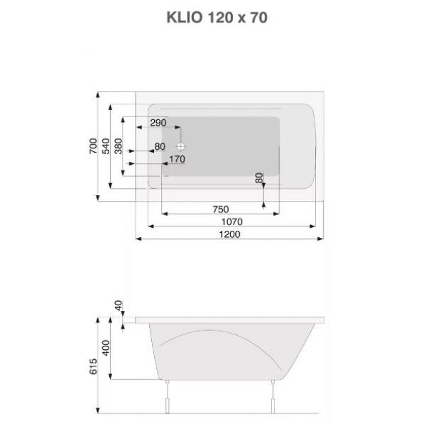 Акриловая ванна Poolspa Klio 120x70 (сифон автомат)