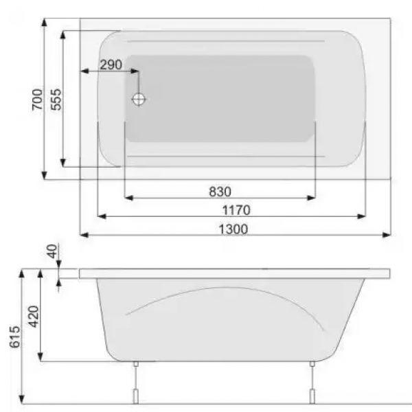 Акриловая ванна Poolspa Klio 130x70 (сифон автомат)