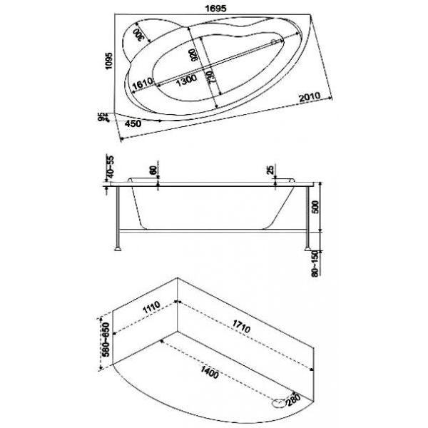 Акриловая ванна BAS Лагуна 170х110 (сифон автомат)