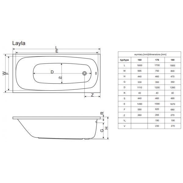 Акриловая ванна Excellent Layla 180x80 (сифон автомат)