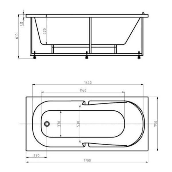 Акриловая ванна Aquatek Лея 170x75 (сифон)