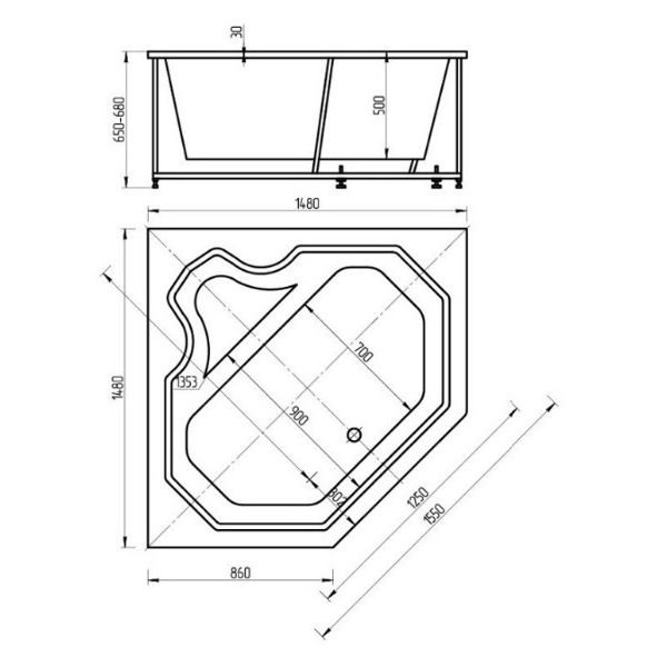 Акриловая ванна Aquatek Лира 150х150 (сифон)