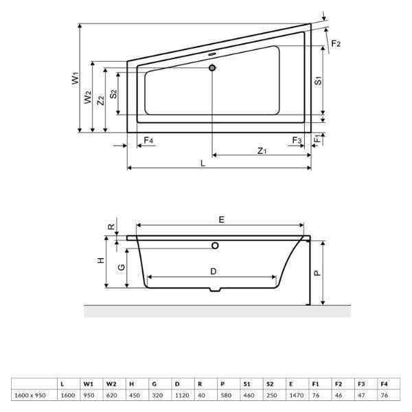 Акриловая ванна Excellent M-Sfera 160x95 (сифон автомат)