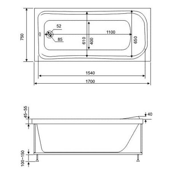 Акриловая ванна BAS Мальта 170x75 (сифон автомат)