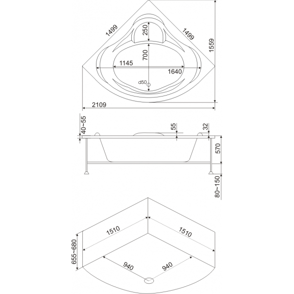 Акриловая ванна BAS Модена 150х150 (сифон автомат)