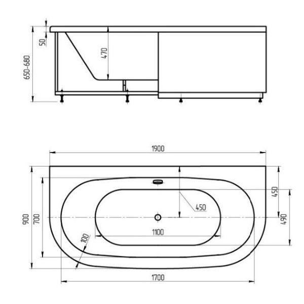 Акриловая ванна Aquatek Морфей 190x90 (сифон)