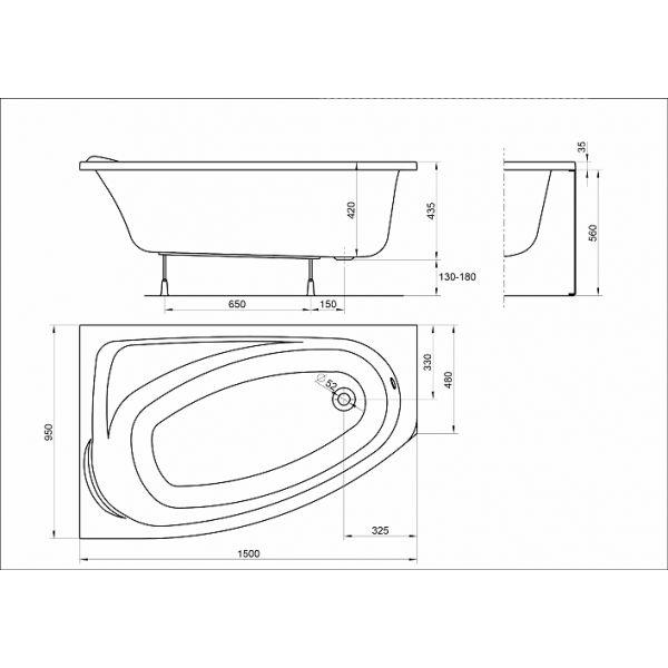 Акриловая ванна Kolo Mystery 150x95 (сифон автомат)