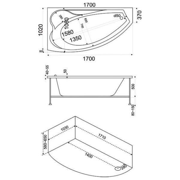 Акриловая ванна BAS Николь 170х104 (сифон автомат)