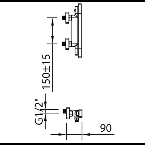 Смеситель для душа Clever Nine xtreme 60133 термостатический