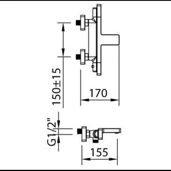 Смеситель для ванны Clever Nine xtreme 60131 термостатический