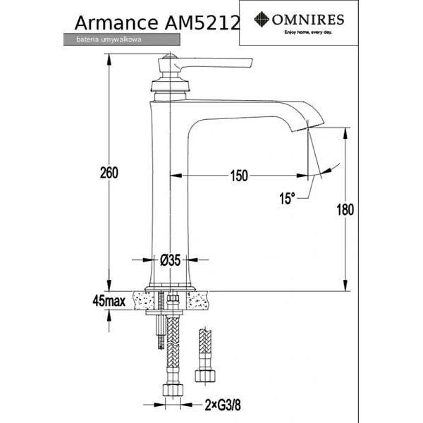 Смеситель для умывальника Omnires Armance AM5212