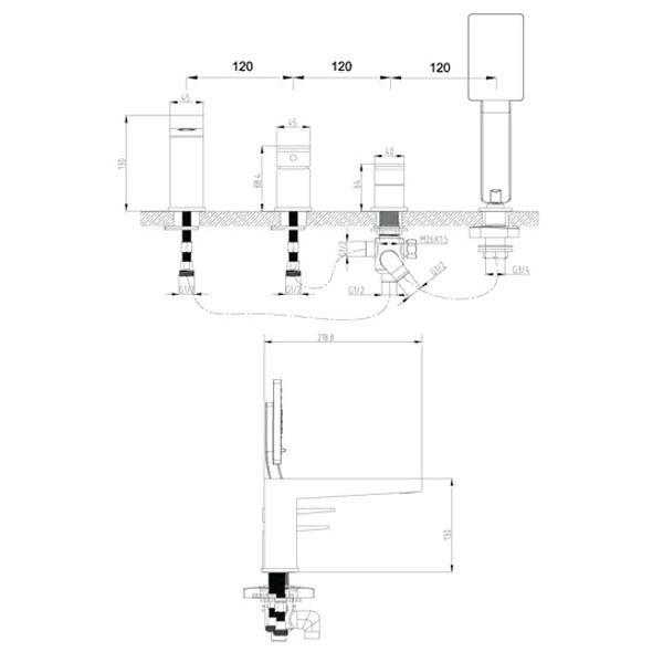 Смеситель на борт ванны Omnires Fresh FR7132 CHR на 4 отверстия