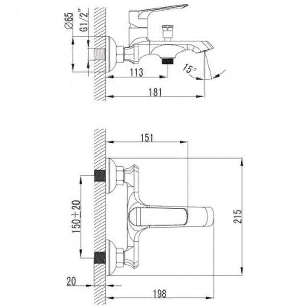 Смеситель для ванны и душа Omnires Norman NR7630 CHR