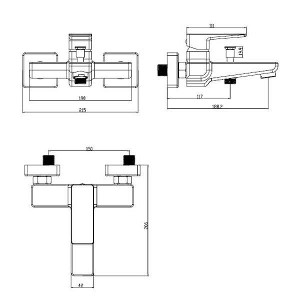 Смеситель для ванны и душа Omnires Parma PM7430 BIA/CHR