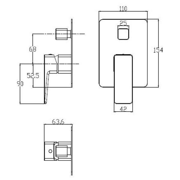 Смеситель для ванны встраиваемый Omnires Parma PM7435 BIA/CHR