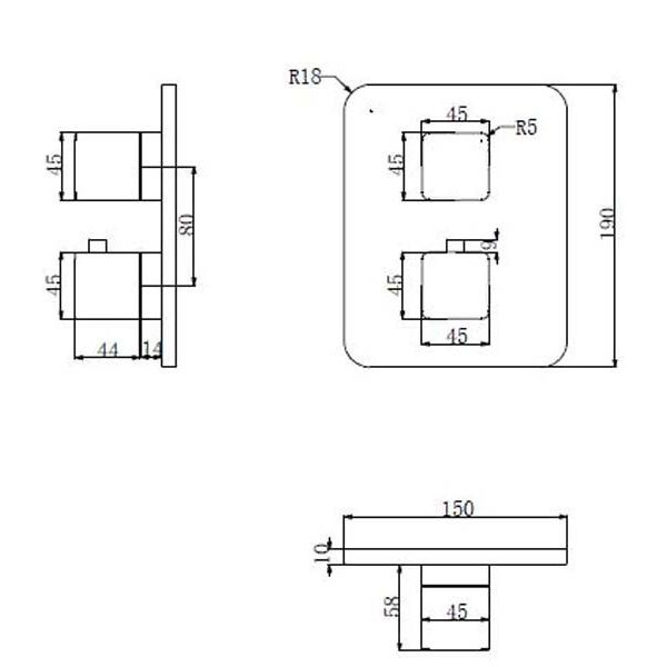 Смеситель для ванны термостатический встраиваемый Omnires Parma PM7436 CHR