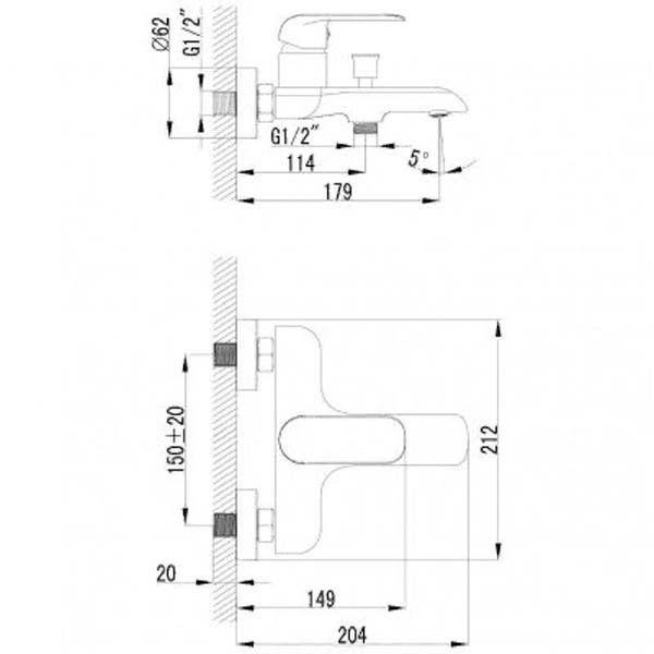 Смеситель для ванны и душа Omnires Sacramento SC2330 BIA/CHR
