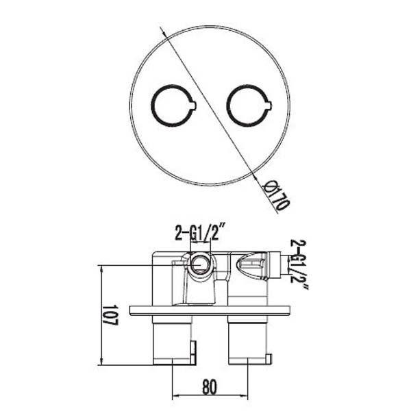 Смеситель для ванны термостатический встраиваемый Omnires Y Y1236 CHR