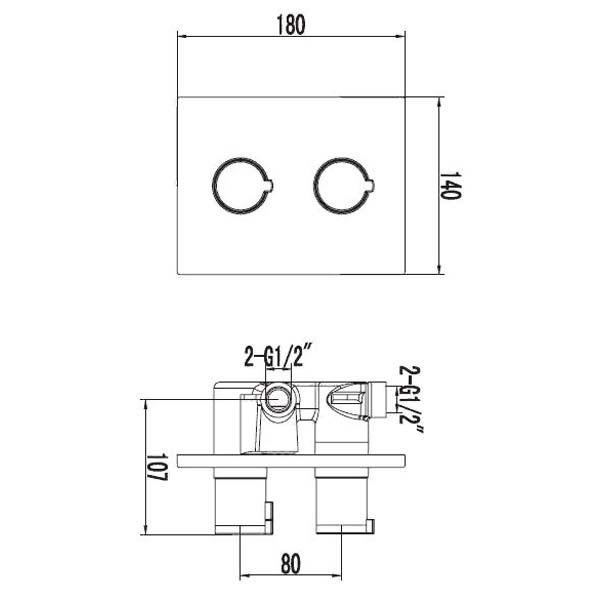 Смеситель для ванны термостатический встраиваемый Omnires Y Y1236K CHR